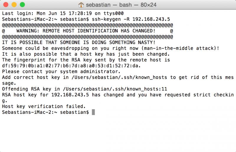 SSH: Fehlermeldung bei anderem Zielcomputer unter gleicher IP-Adresse
