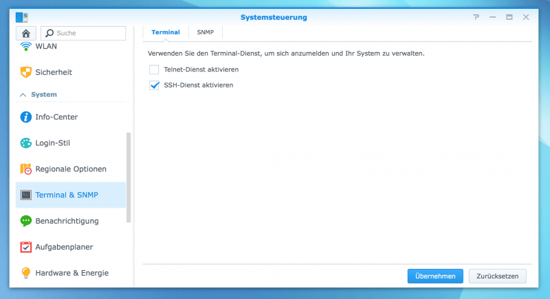 Synology DiskStation: SSH aktivieren