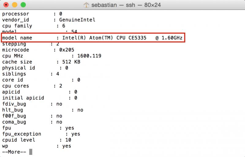 Synology DiskStation: CPU-Informationen