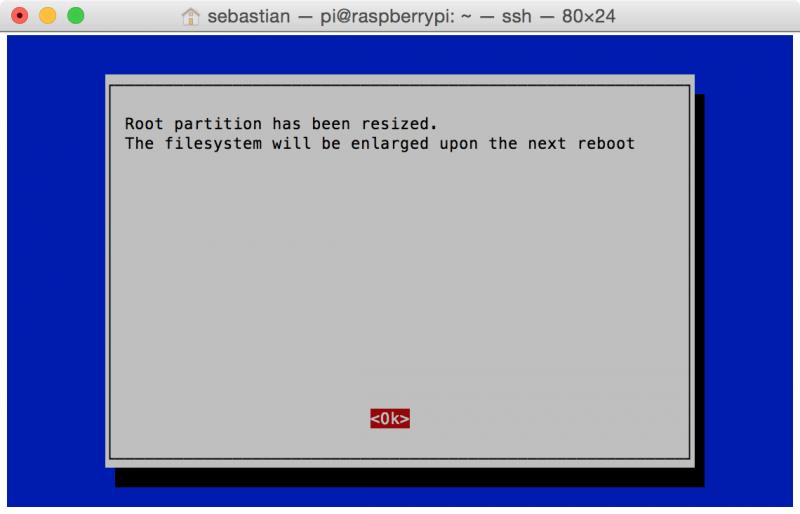 raspi-config: Dateisystem expandieren