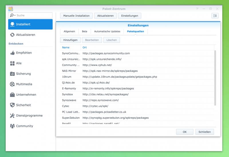 Synology DiskStation: Paketquellen hinzufügen