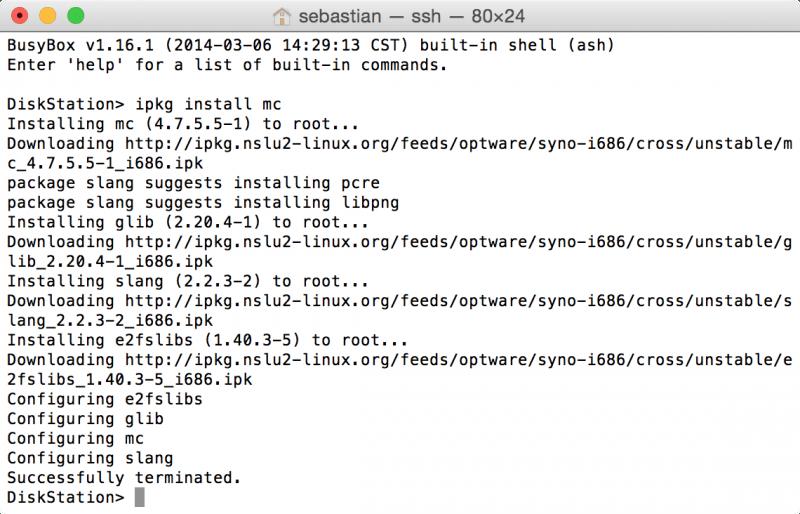 Synology DiskStation: Midnight Commander per iPKG auf der Kommandozeile installieren