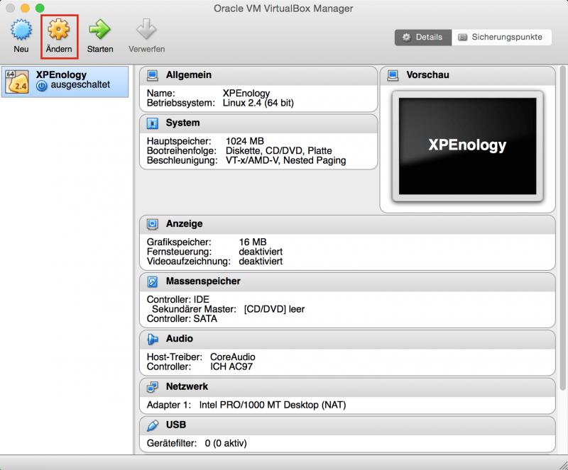 VirtualBox: Erzeugte VM ändern