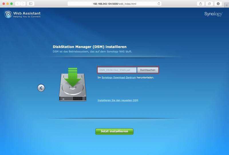 Web Assistant: DSM-File hochladen