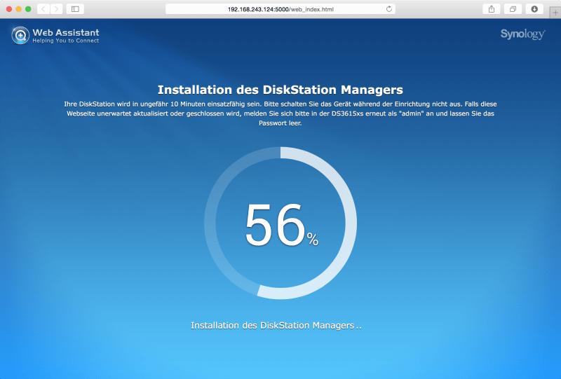 Web Assistant: Installation wird ausgeführt