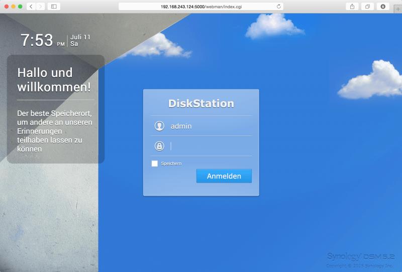DSM: Login-Bildschirm