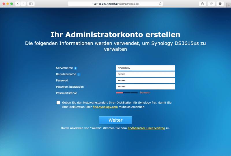 DSM: Administratorkonto erstellen