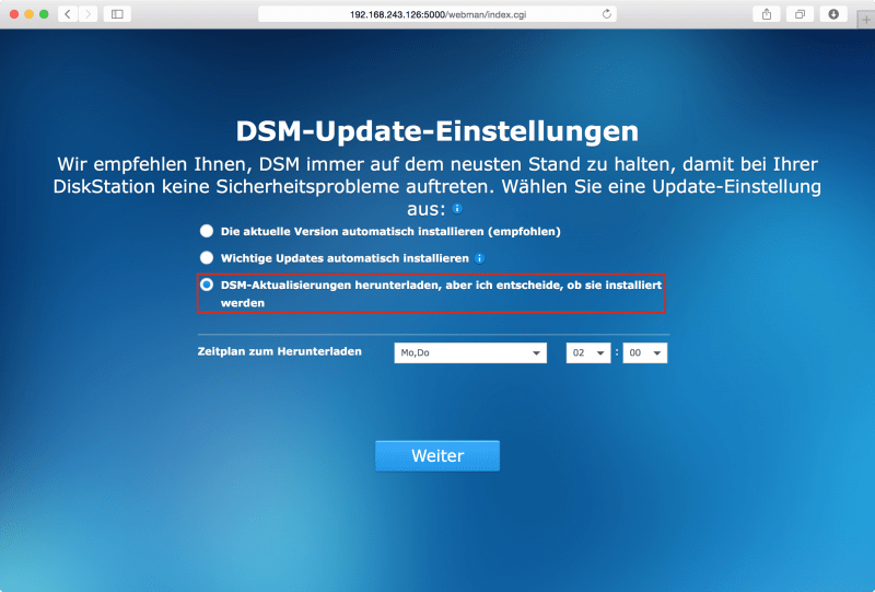 DSM: Update-Einstellungen festlegen