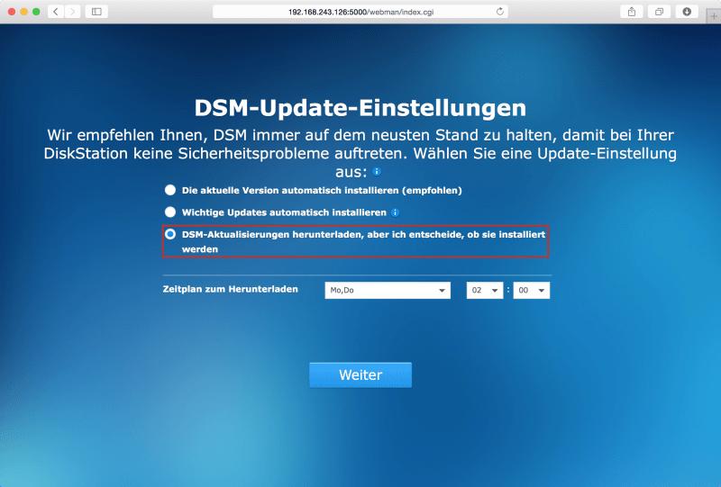 DSM: Update-Einstellungen festlegen