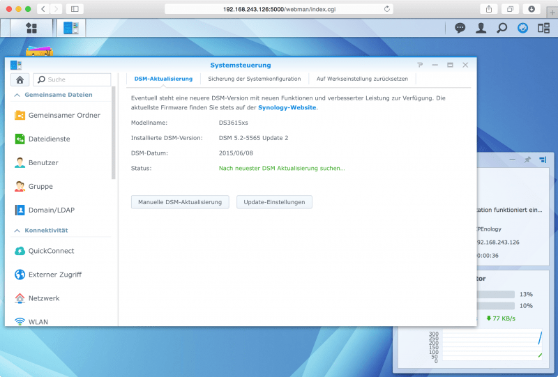 DSM: aktueller Softwarestand: DSM 5.2-5565 Update 2