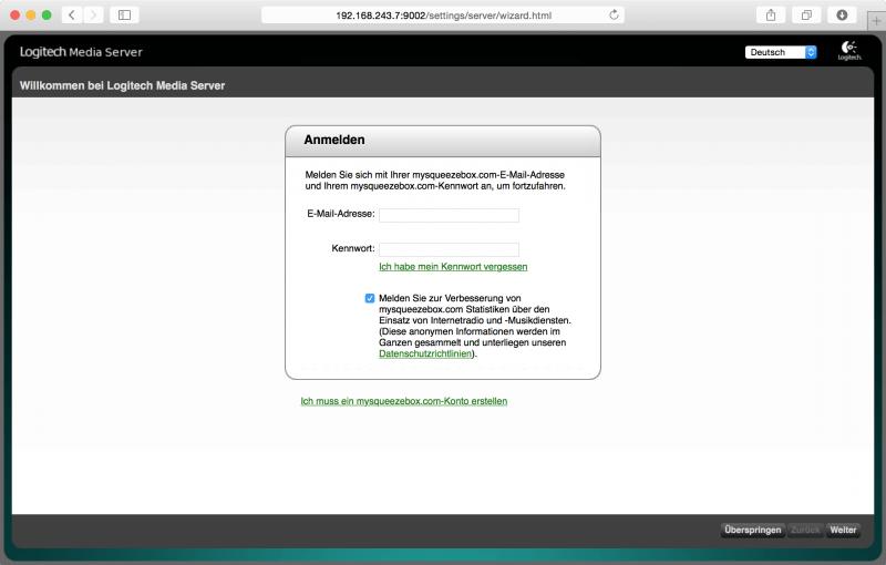 Logitech Media Server: Begrüßungsbildschirm