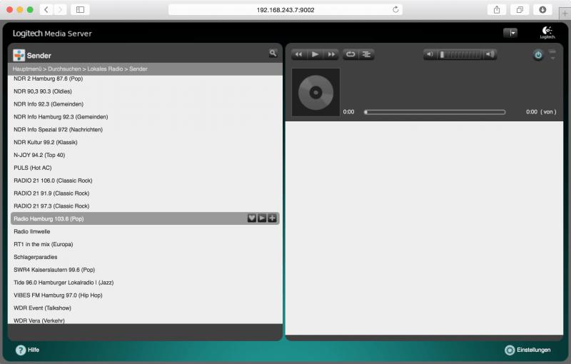 Logitech Media Server: Radiosender über TuneIn Radio hinzufügen