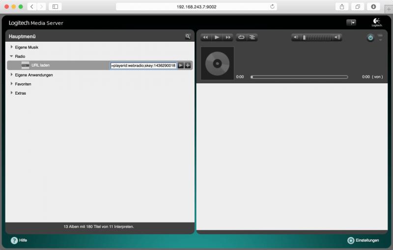 Logitech Media Server: Webradio-URL hinzufügen