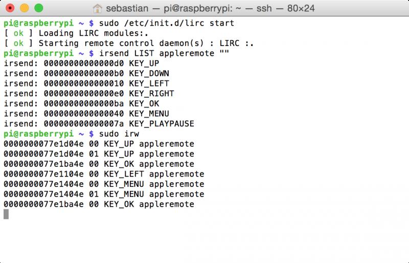 Raspberry Pi: Konfigurationsdatei lircd.conf testen