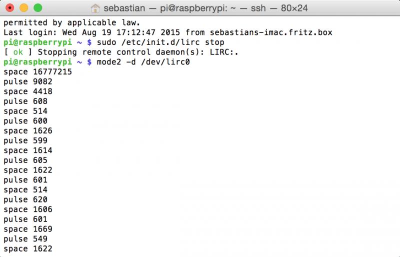 Raspberry Pi: Rohdaten von LIRC im Terminal