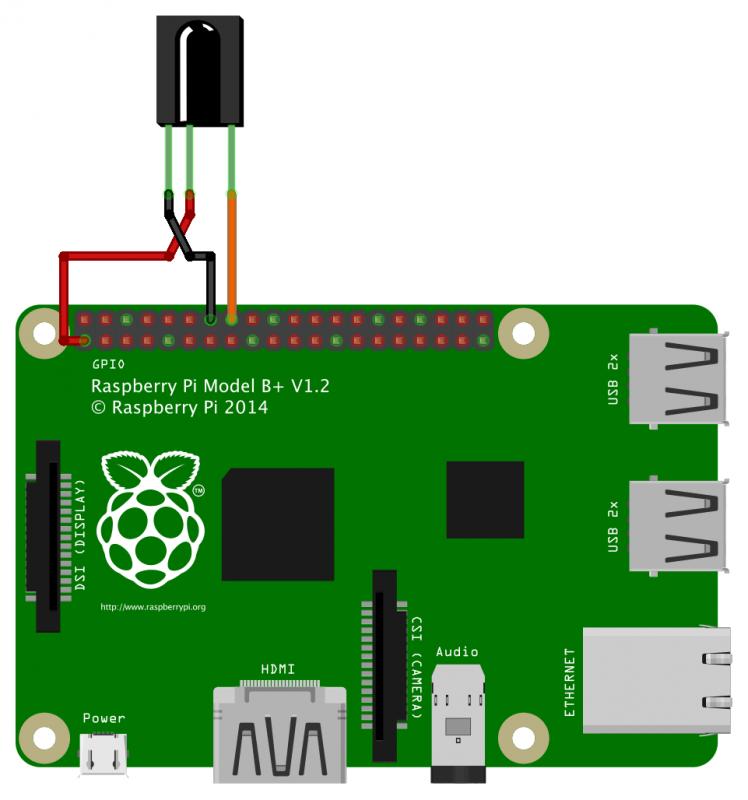 Raspberry Pi mit IR-Empfänger TSOP 31238 (Schema)