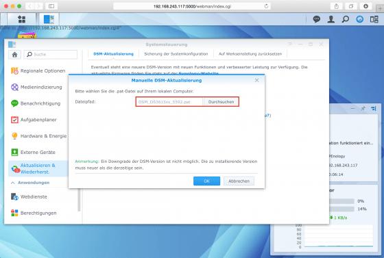DSM: .pat-Datei zur Aktualisierung auswählen