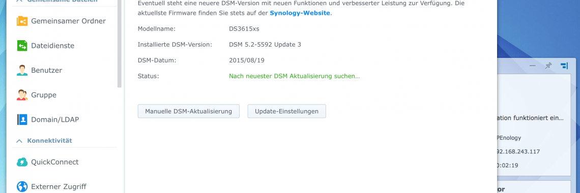 DSM: aktueller Softwarestand: DSM 5.2-5592 Update 3