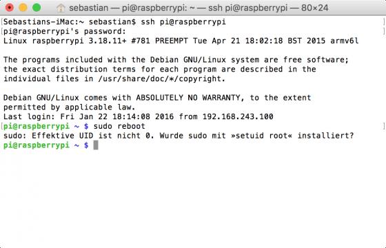 Raspberry Pi: Effektive UID ist nicht 0