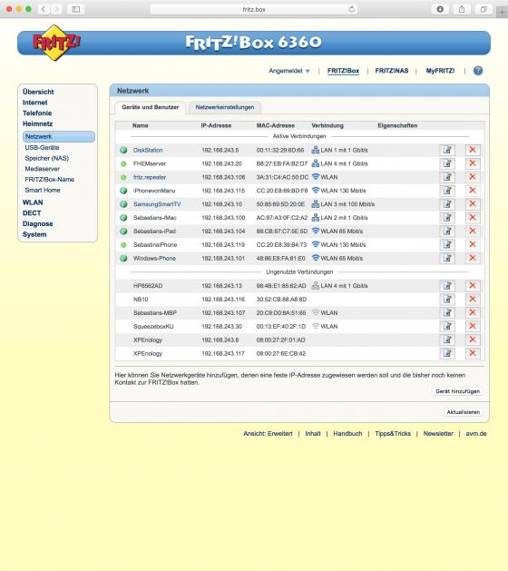 FritzBox: Geräte und Benutzer (aufgeräumt)