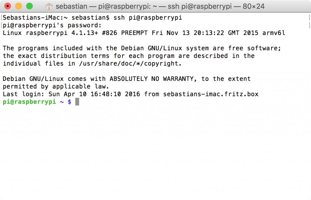 Raspberry Pi: Standard-Login-Nachricht