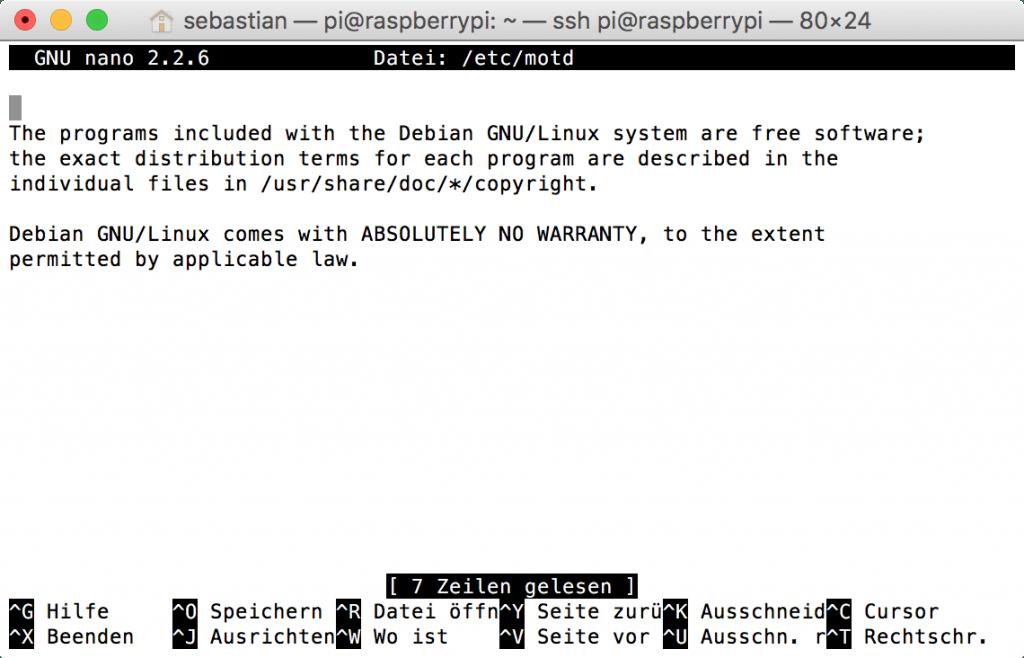 Raspberry Pi: Inhalt von /etc/motd