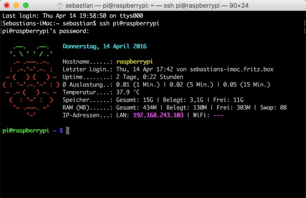 Raspberry Pi: farbige Login-Nachricht mit dem aktuellen Systemzustand