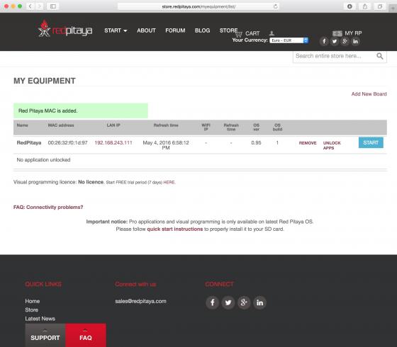 Red Pitaya: Benutzerkonto / Registrierte Geräte