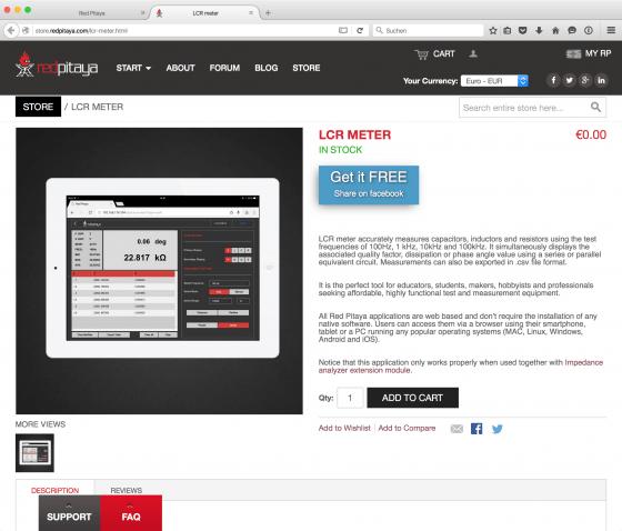 Red Pitaya: Online Store / LCR-Meter