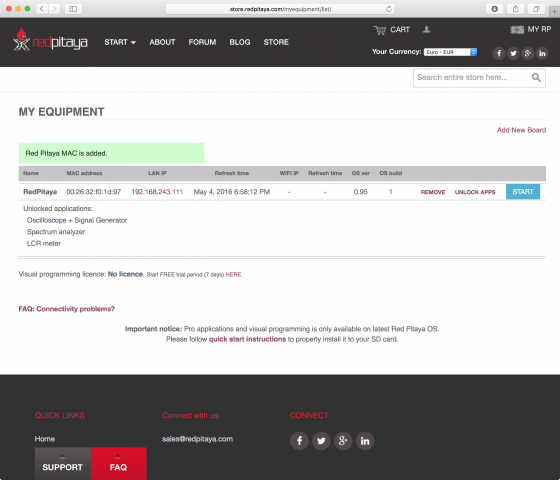 Red Pitaya: Benutzerkonto zeigt freigeschaltete Applikationen