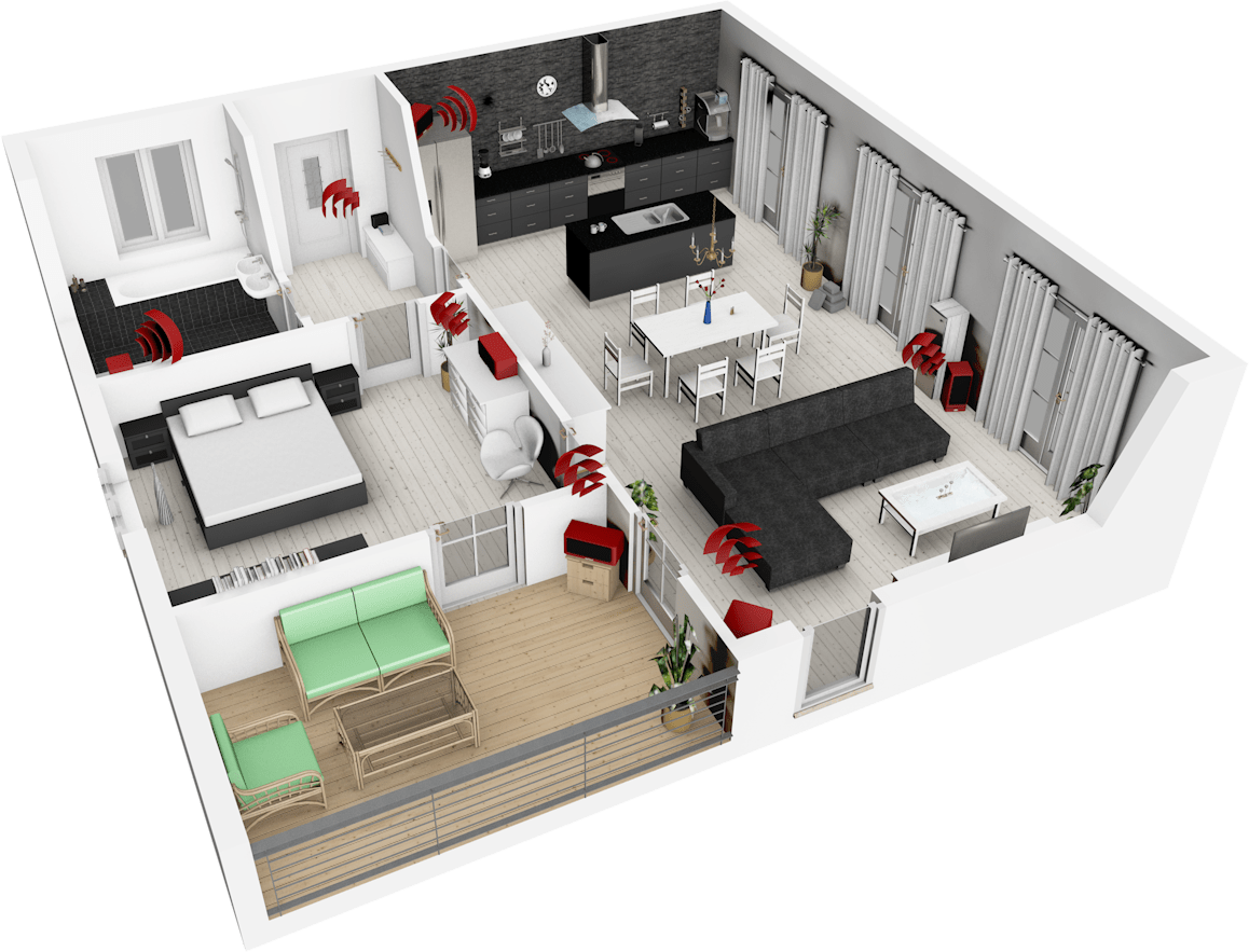 multiroom audio lautsprecher in der wohnung verteilt. Black Bedroom Furniture Sets. Home Design Ideas