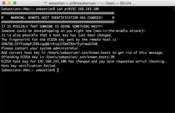 SSH-Key-Überprüfung fehlgeschlagen