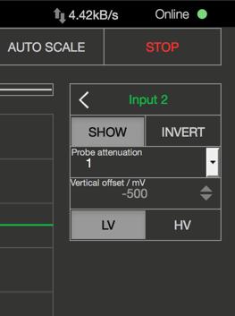 Oscilloscope Pro: Einstellungen für Eingänge