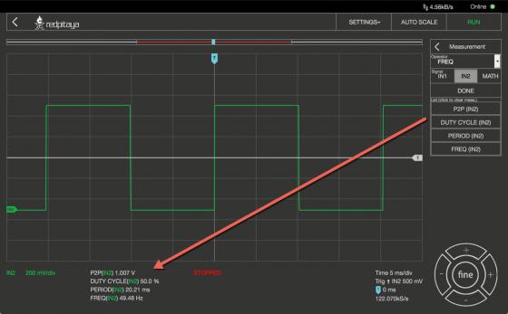 Oscilloscope Pro: Messwerte anzeigen