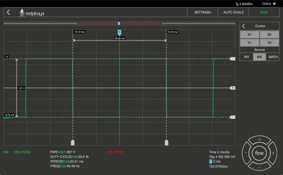 Oscilloscope Pro: Hilfslinien zum freien Messen im Graph