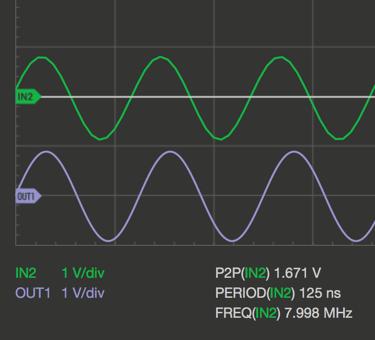 Oscilloscope Pro: Signalgenerator - SINE @8MHz/50Ω