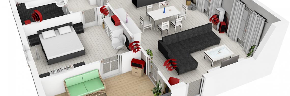 Multiroom-Audio: Lautsprecher in der Wohnung verteilt