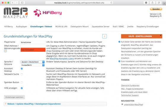 Max2Play: Playernamen einstellen