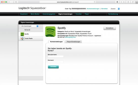 mysqueezebox.com: Spotify-Zugangsdaten eintragen