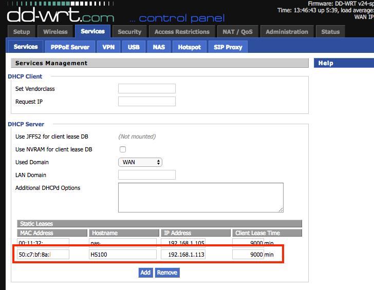 vergeben einer statischen IP Adresse für die Funksteckdose