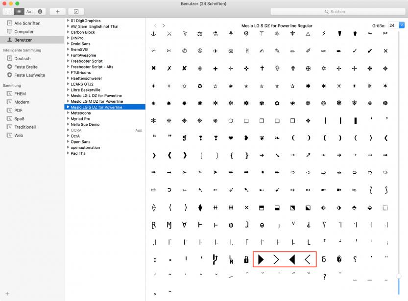 macOS Schriftsammlung: Meslo for Powerline