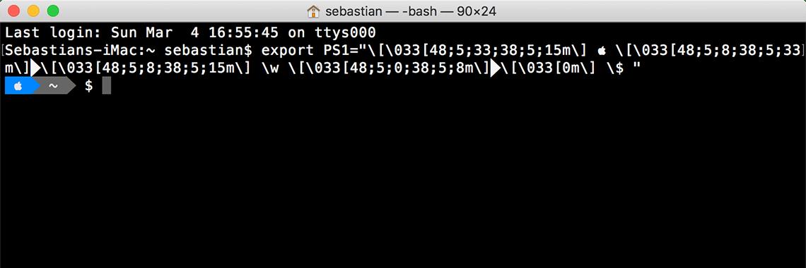 macOS Terminal mit angepasstem Prompt