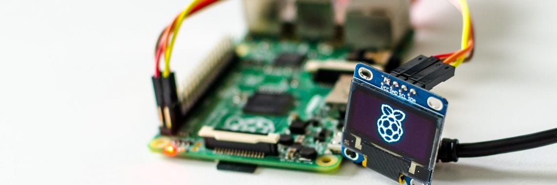 "Raspberry Pi mit angeschlossenem 0,96""-OLED-Display"
