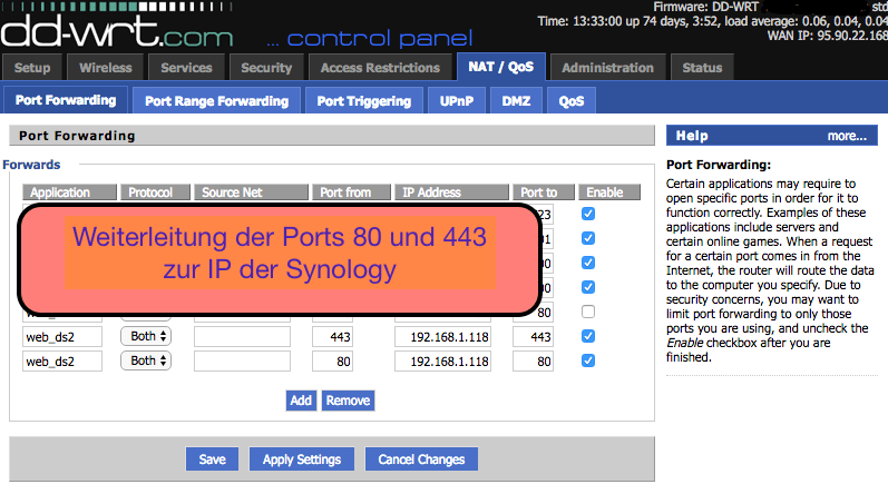 eine Portweiterleitung zu Synology muss eingerichtet werden. Port 80 und 443 werden weitergeleitet