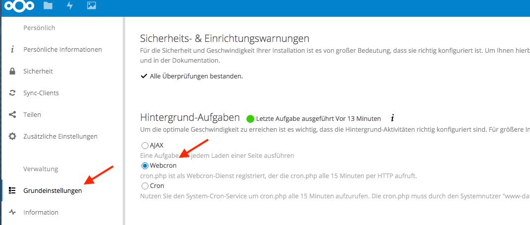 In der Weboberfläche des Nextcloud ist in den Grundeinstellungen das Webcron zu selektieren