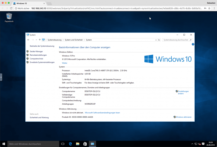 VMM: Windows 10 im Browser