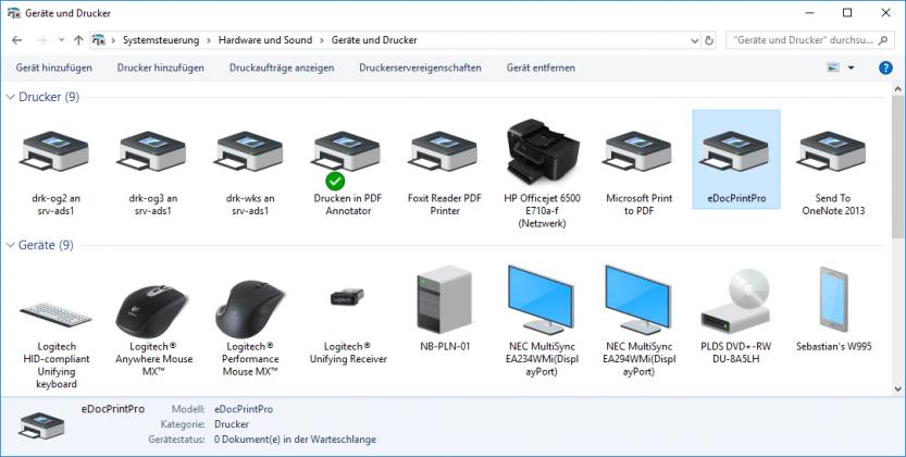 Geräte und Drucker unter Windows 10