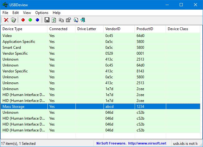 USB device view: VID und PID auslesen