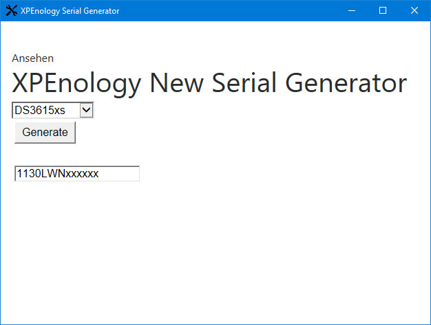 XPEnology Serial Generator