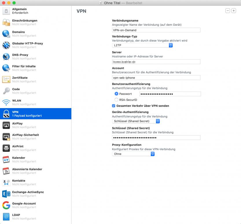 Apple Configurator 2: VPN-Profil erstellen